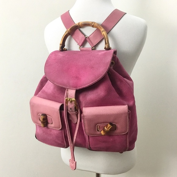 d1674948fa8 Gucci Handbags - Vintage Gucci Pink Suede Bamboo Backpack